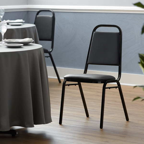 "Lancaster Table & Seating Black Stackable Banquet Chair with 1"" Padded Seat Main Image 5"