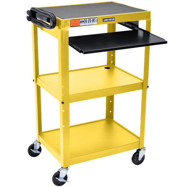 "Luxor AVJ42KB-YW Yellow Mobile Computer Cart / Workstation 24"" x 18"" with Keyboard Shelf"