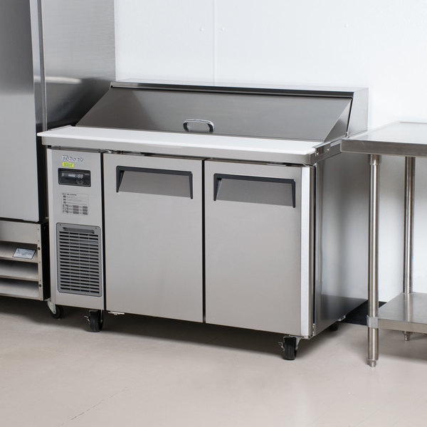 "Turbo Air JST-48 48"" 2 Door Side Mount Compressor Refrigerated Sandwich Prep Table"