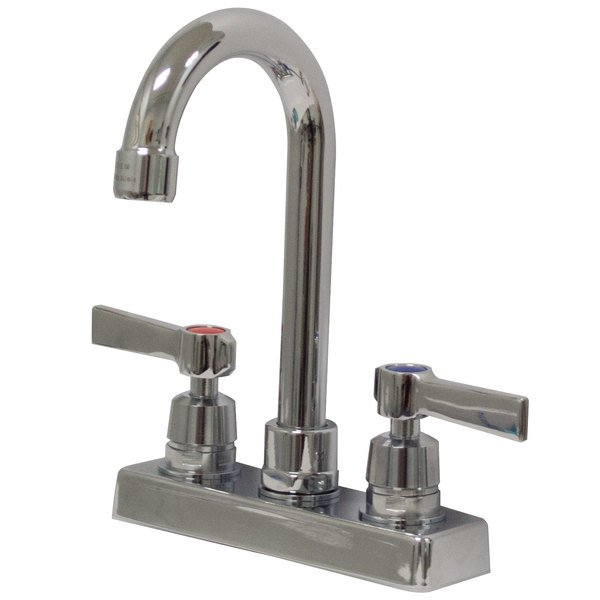 """Advance Tabco K-52 3 1/2"""" Deck-Mounted Gooseneck Faucet with 4"""" Centers"""
