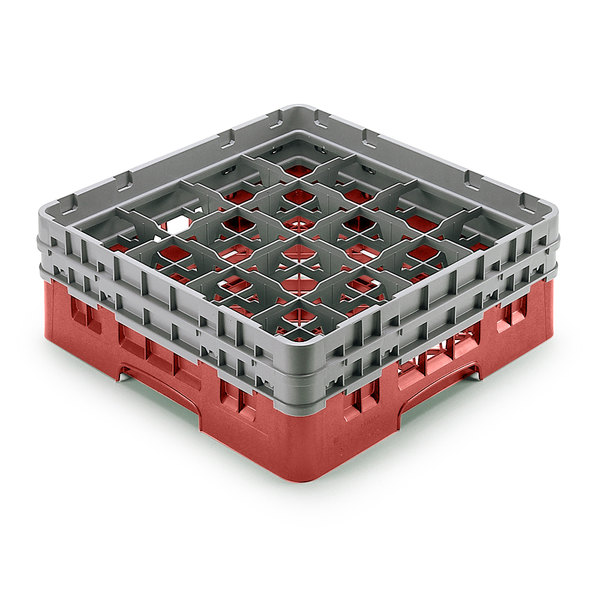 "Cambro 16S958163 Camrack Customizable 10 1/8"" High Customizable Red 16 Compartment Glass Rack Main Image 1"