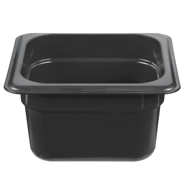Cambro 64HP110 H-Pan 1/6 Size Black High Heat Food Pan - 4 inch Deep