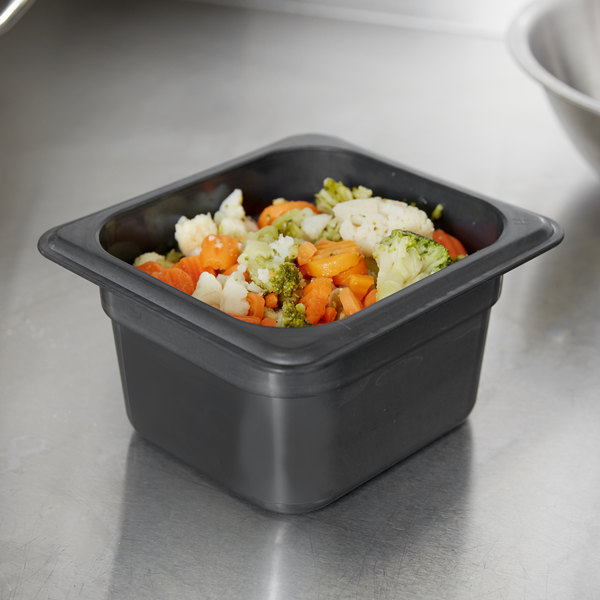 "Cambro 64HP110 H-Pan 1/6 Size Black High Heat Food Pan - 4"" Deep"