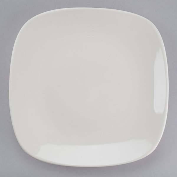 "Tuxton BEH-110C 11"" DuraTux Ivory (American White) Square China Plate - 12/Case"