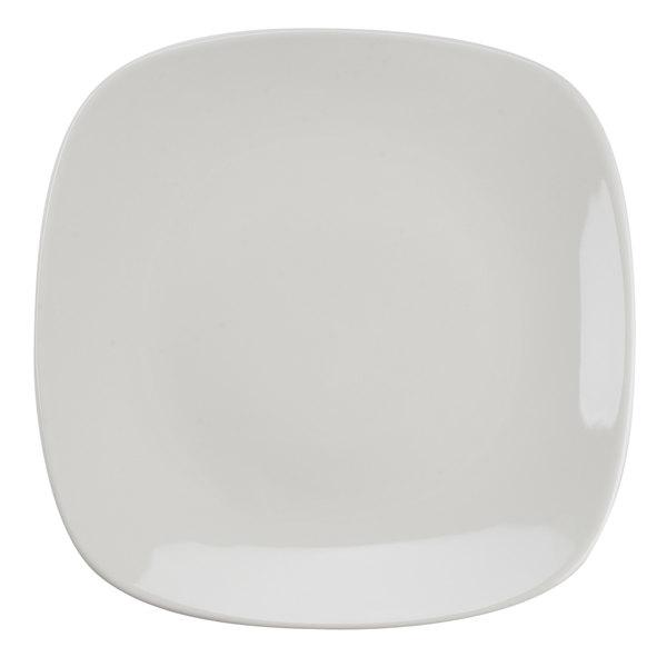"Tuxton BEH-110C 11"" DuraTux Ivory (American White) Square China Plate - 12/Case"