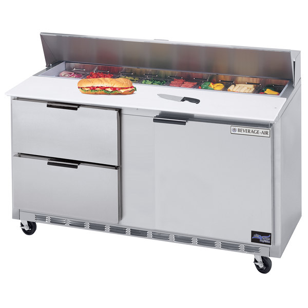 """Beverage-Air SPED60HC-16C-2 60"""" 1 Door 2 Drawer Cutting Top Refrigerated Sandwich Prep Table with 17"""" Wide Cutting Board Main Image 1"""