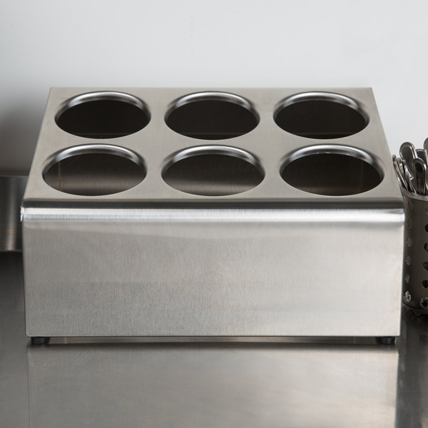 Steril-Sil TC-6 Countertop Stainless Steel 6-Cylinder Flatware Organizer Main Image 4