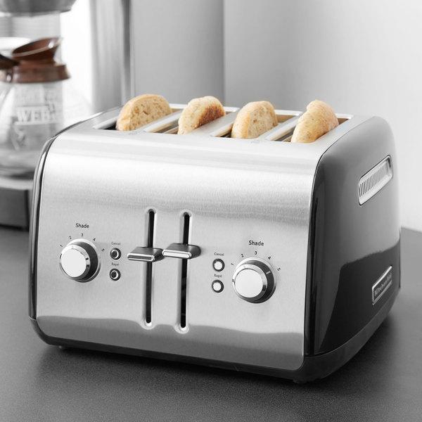 KitchenAid KMT4115OB Onyx Black Four Slice Toaster with Manual Lift Main Image 5
