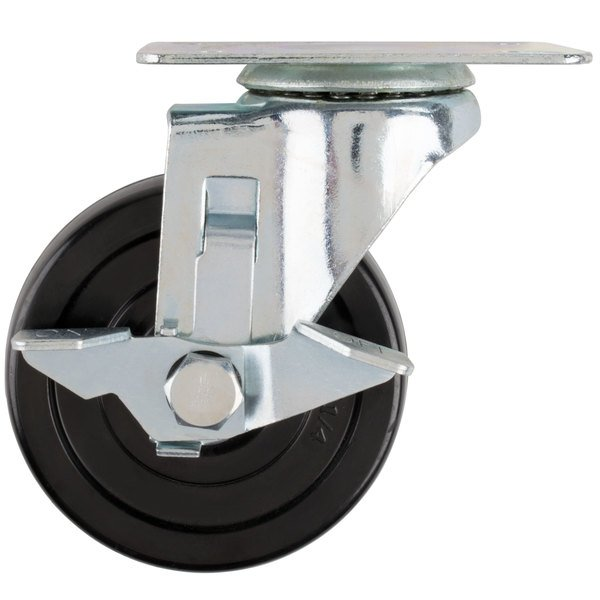"Avantco 17816412 4"" Swivel Plate Caster with Brake Main Image 1"
