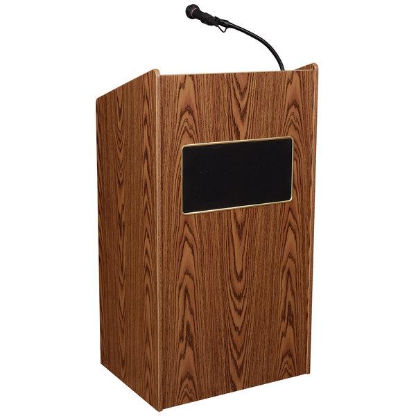 Oklahoma Sound 6010-MO Medium Oak Finish Aristocrat Floor Lectern with Sound