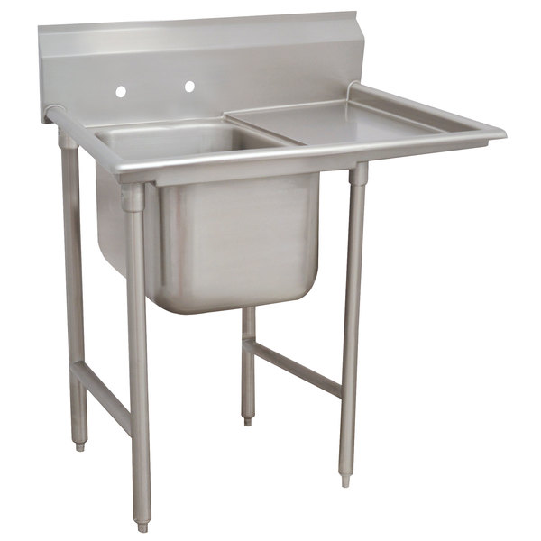 Right Drainboard Advance Tabco 9-21-20-18 Super Saver One Compartment Pot Sink with One Drainboard - 44""