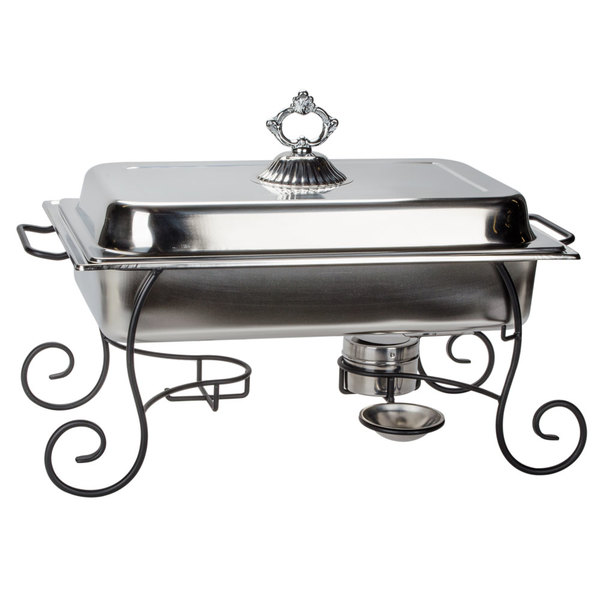 Choice 8 Qt. Full Size Chafer Set with Black Wrought Iron Stand and Classic Lid Handle