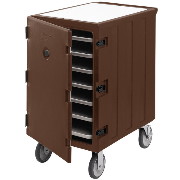 """Cambro 1826LTC3131 Camcart Dark Brown Mobile Cart for 18"""" x 26"""" Sheet Pans and Trays"""
