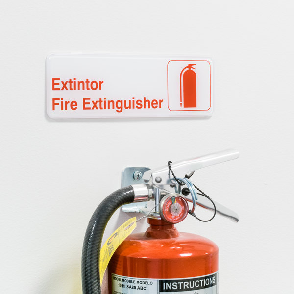 """Tablecraft 394582 Extintor / Fire Extinguisher Sign - Red and White, 9"""" x 3"""" Main Image 2"""