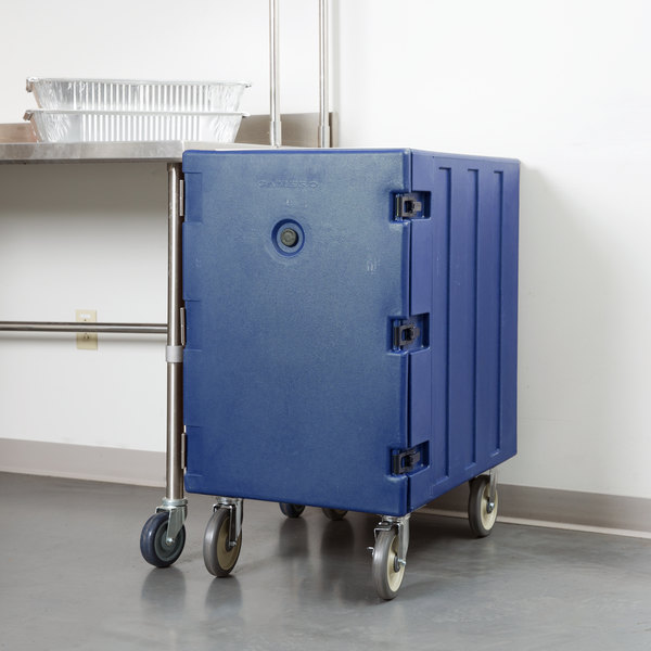 """Cambro 1826LTC186 Camcart Navy Blue Mobile Cart for 18"""" x 26"""" Sheet Pans and Trays"""