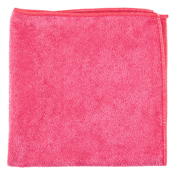 "Unger MB40R SmartColor MicroWipe 16"" x 16"" Red Medium-Duty Microfiber Cleaning Cloth - 10/Pack"