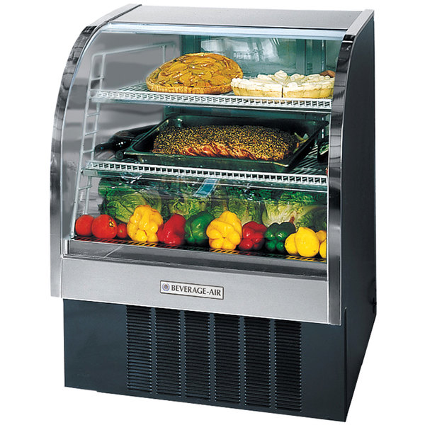 "Beverage Air CDR3/1-B-20 Black Curved Glass Refrigerated Bakery Display Case 37"" - 13.4 Cu. Ft."