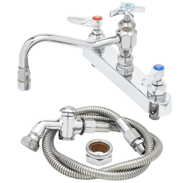 """T&S B-1152 Deck Mounted Workboard Faucet with Spray Valve and 8"""" Centers - 7 7/8"""" Swing Nozzle"""