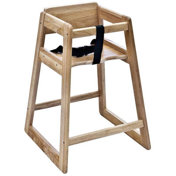 "Koala Kare KB800-20 27 1/2"" Assembled Stacking Restaurant High Chair with Natural Finish"