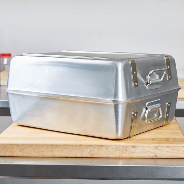 "Vollrath 68360 Wear-Ever 23.25 Qt. Aluminum Double Roaster Set with Straps - 20 1/8"" x 16 1/8"" x 9 3/4"""