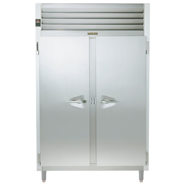 Traulsen RHT232NPUT-FHS Stainless Steel 48.3 Cu. Ft. Two Section Solid Door Narrow Pass-Through Refrigerator - Specification Line Main Image 1