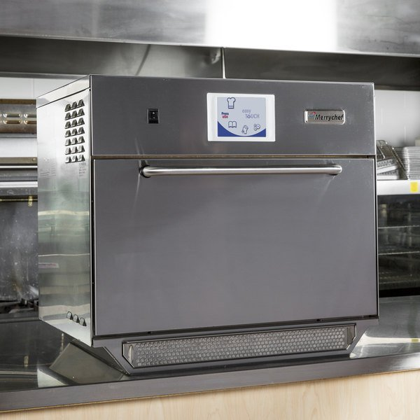 Merrychef stainless steel high speed oven on a countertop