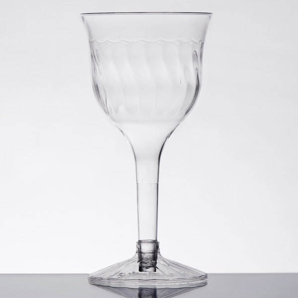 Fineline Flairware 2207 6 oz. 2-Piece Clear Plastic Wine Goblet  - 10/Pack