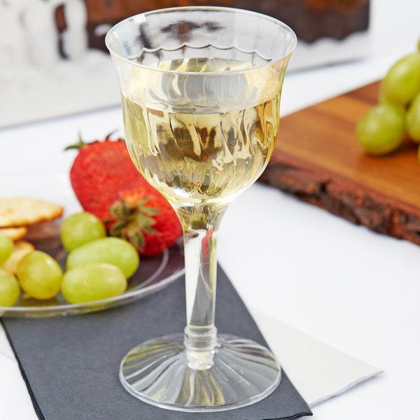 Fineline 2207 Flairware 6 oz. Clear 2-Piece Plastic Wine Goblet - 10/Pack Main Image 6