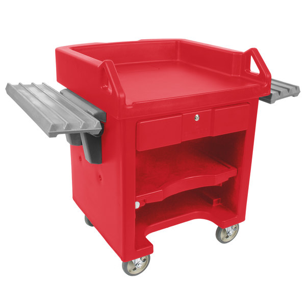 Cambro VCSWR158 Hot Red Versa Cart with Dual Tray Rails and Standard Casters Main Image 1