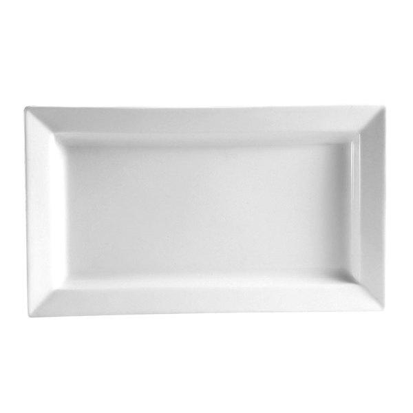 """CAC PNS-61 Princesquare 16"""" x 8 1/4"""" Bright White Porcelain Deep Platter - 12/Case"""