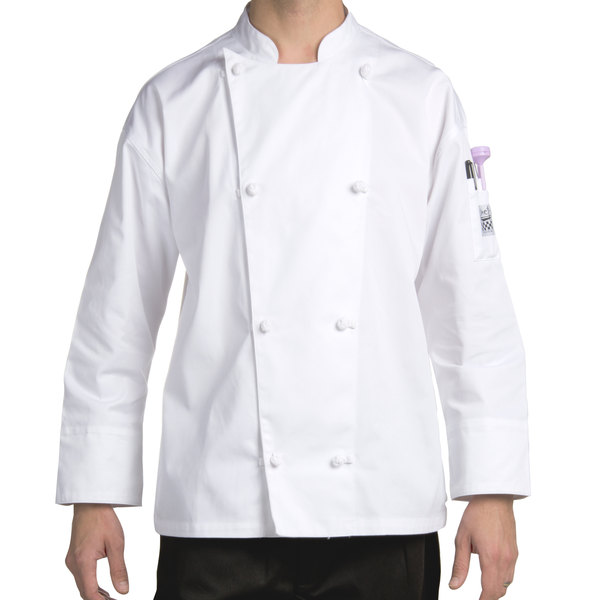 Chef Revival Silver J003-L Knife and Steel Size 46 (L) White Customizable Long Sleeve Chef Jacket - Poly-Cotton Blend