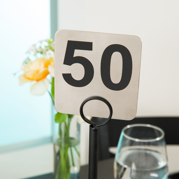 Tablecraft N150 1 to 50 Stainless Steel Double-Sided Table Number Main Image 4