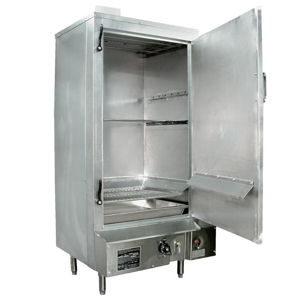 """Town SM-30-R-STD Natural Gas Indoor 30"""" Galvanized Steel Smokehouse with Right Door Hinges - 60,000 BTU"""