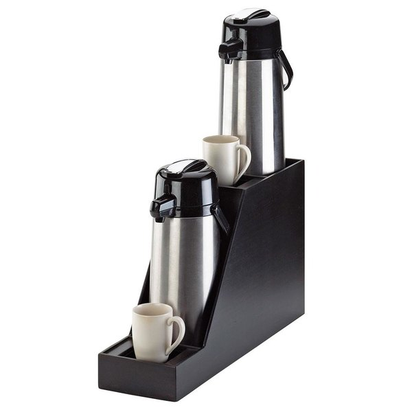 """Cal-Mil 360-2-96 Midnight Bamboo Dual Airpot Stand with Drip Trays - 7 1/2"""" x 23 1/2"""" x 15 1/4"""""""