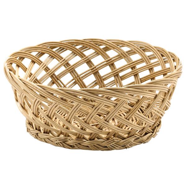 "Tablecraft 1635 Natural Open Weave Round Willow Basket 9"" x 3 1/2"""