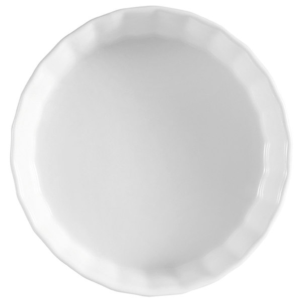 """CAC QCD-10 White China Fluted Quiche Dish 10"""" - 12/Case"""