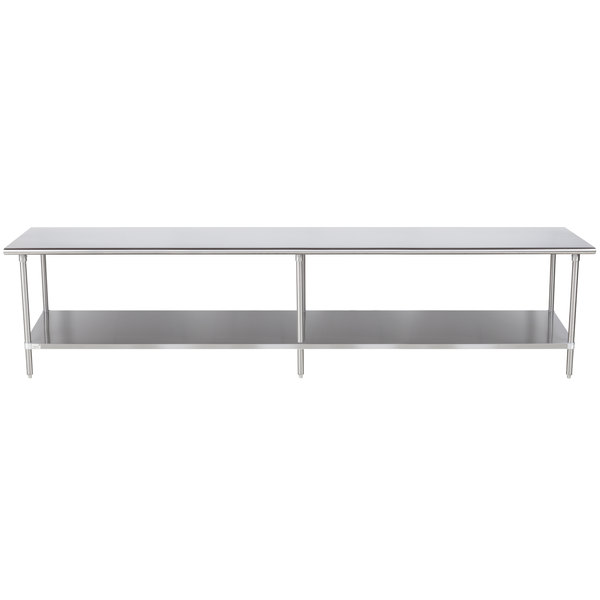"""Advance Tabco Premium Series SS-3612 36"""" x 144"""" 14 Gauge Stainless Steel Commercial Work Table with Undershelf"""