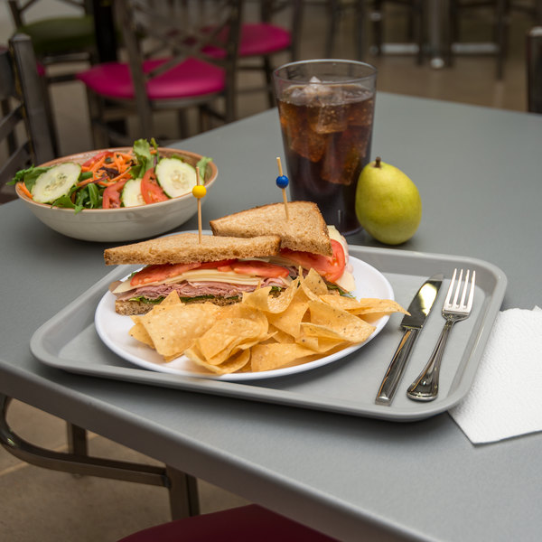 "Carlisle CT101423 Cafe 10"" x 14"" Gray Standard Plastic Fast Food Tray"