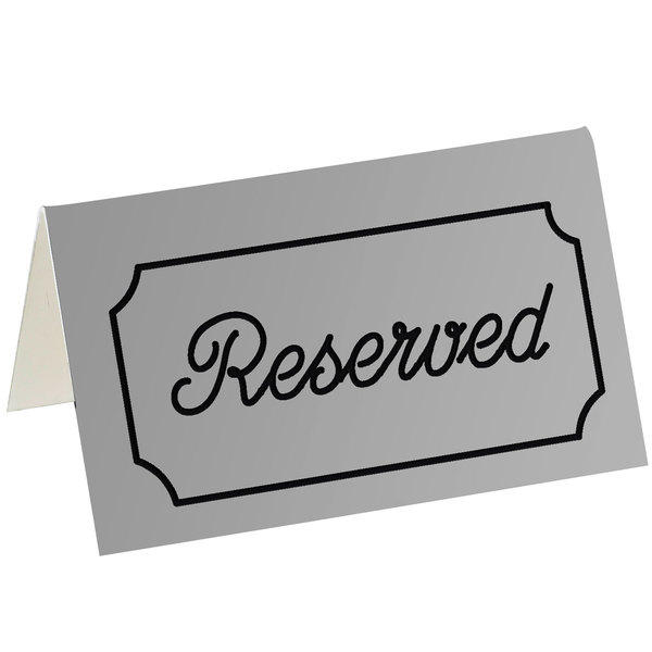 """Cal-Mil 273-10 5"""" x 3"""" Gray/Black Double-Sided """"Reserved"""" Tent Sign Main Image 1"""