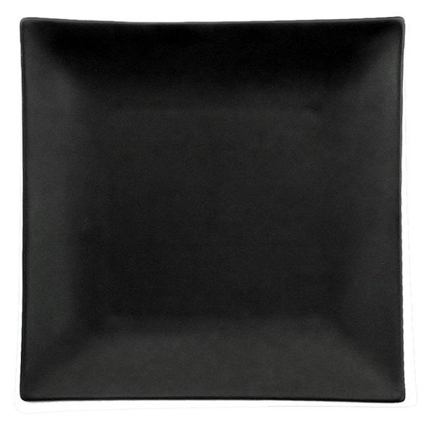 "CAC 6-S16-BK Japanese Style 10"" Square China Plate - Non-glare Glaze Black - 12/Case"