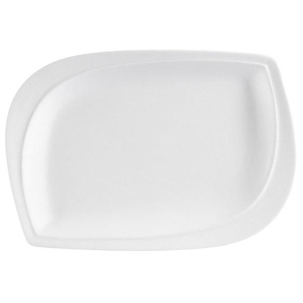 "CAC ASP-12 Aspen Tree Bone White Porcelain 10"" x 7"" Platter - 12/Case"