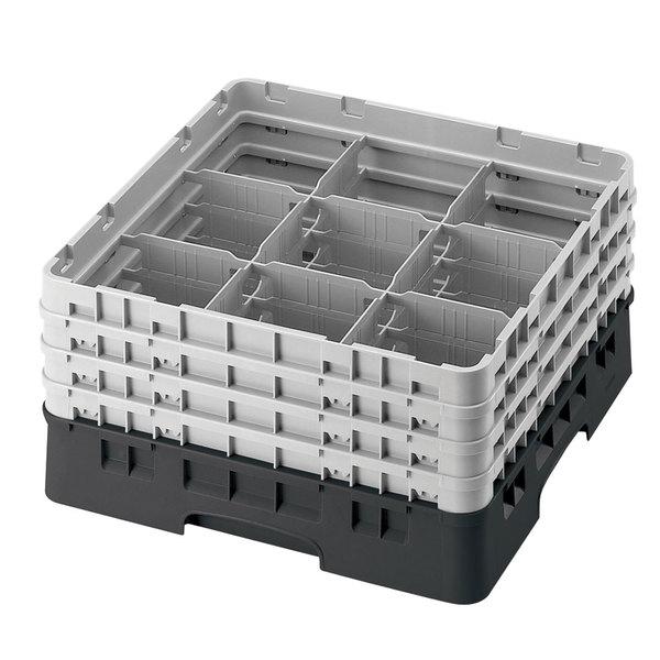 "Cambro 9S1114110 Black Camrack Customizable 9 Compartment 11 3/4"" Glass Rack Main Image 1"