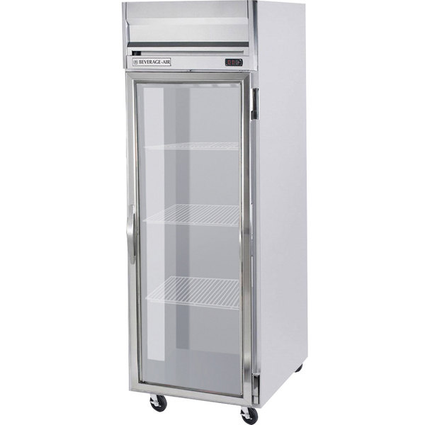 Beverage Air HR1W-1G-LED 1 Section Glass Door Reach-In Refrigerator - 34 cu. ft., Stainless Steel Front, Gray Exterior