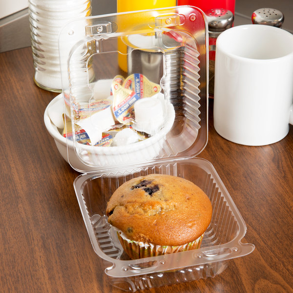 "Durable Packaging PXT-11600 Duralock 5"" x 5"" x 3 1/4"" Deep Clear Hinged Lid Plastic Container - 500/Case"