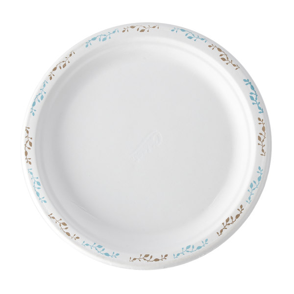 Huhtamaki Chinet 22523 9 3/4 inch Molded Fiber Round Plate with Vines Design - 125/Pack