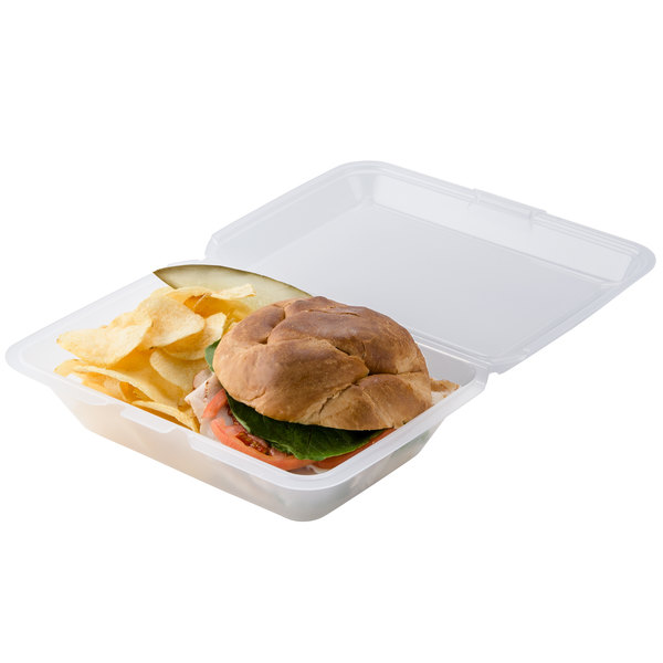 """GET EC-04 9"""" x 6 1/2"""" x 2 1/2"""" Clear Customizable Reusable Eco-Takeouts Container - 12/Pack"""