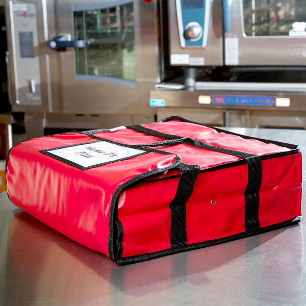 """Insulated Pizza Delivery Bag, Red Vinyl, 18"""" x 18"""" x 5"""""""