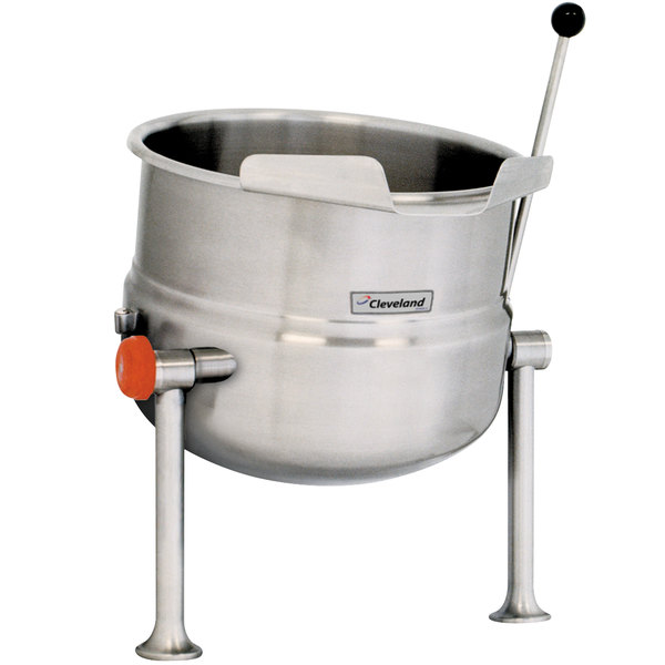 Right Handle Cleveland KDT-20-T 20 Gallon Tilting 2/3 Steam Jacketed Tabletop Direct Steam Kettle