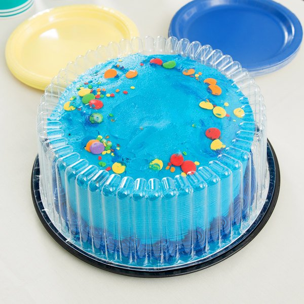 """D&W Fine Pack G22-1 8"""" 1-2 Layer Cake Display Container with Clear Dome Lid - 10/Pack"""