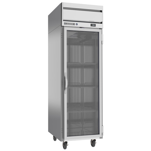"Beverage-Air HRS1-1G Horizon Series 26"" Glass Door Reach-In Refrigerator with Stainless Steel Interior and LED Lighting Main Image 1"